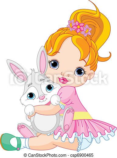 Little girl hugging toy bunny  - csp6900465