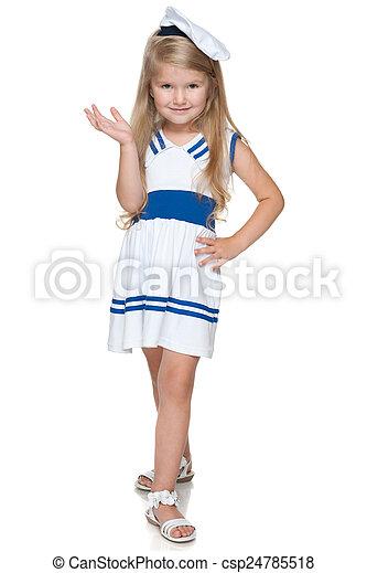 Little girl in a fashion dress - csp24785518