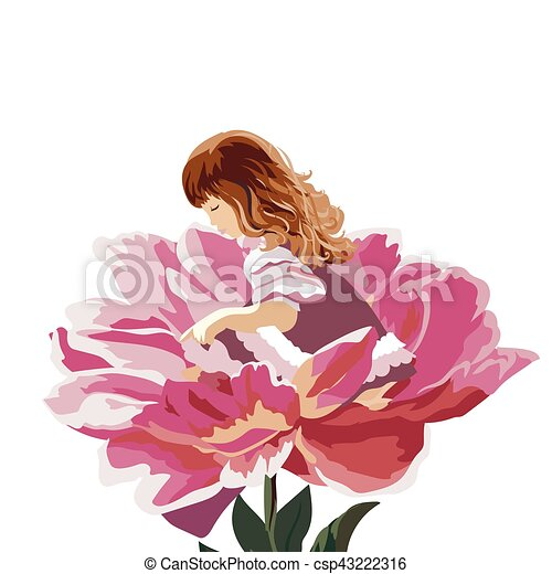 Little girl in a pink peony flower - csp43222316