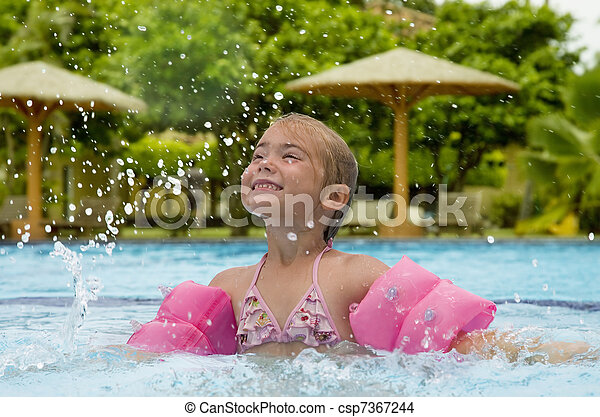 Little girl in a swimming pool - csp7367244