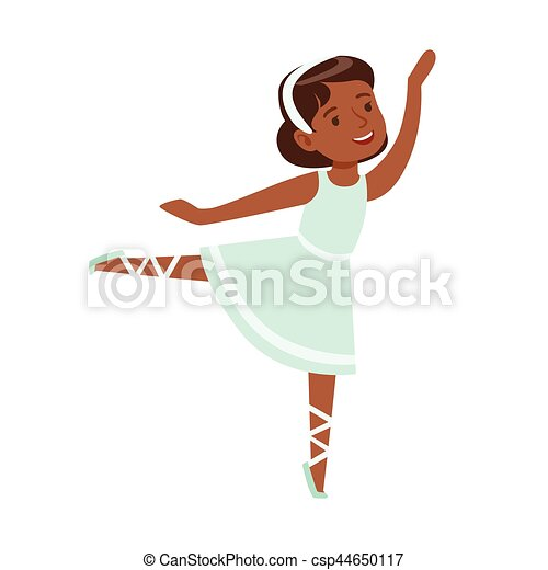 little girl in blue dress dancing ballet in classic dance class