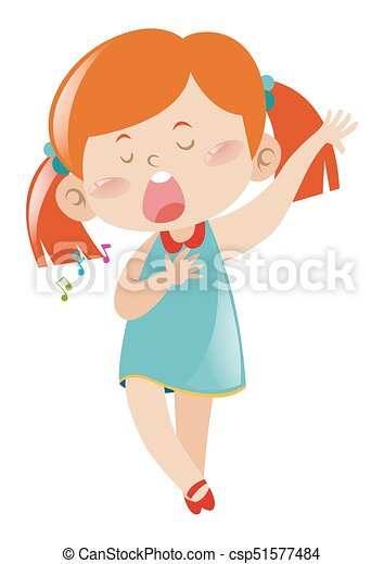 little girl in blue dress singing song illustration vector search rh canstockphoto com
