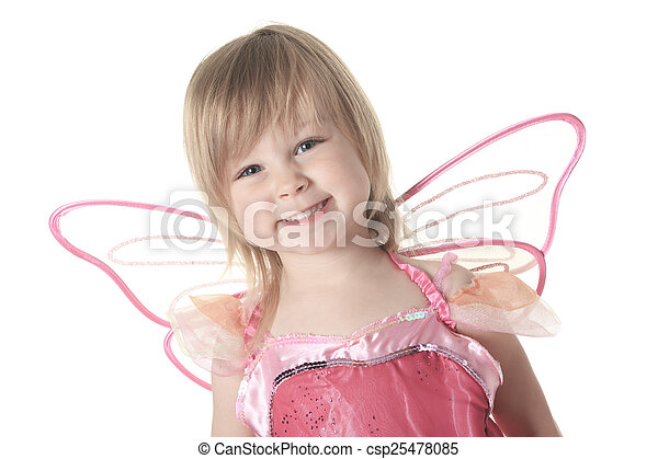 Little girl in butterfly costume on white background - csp25478085
