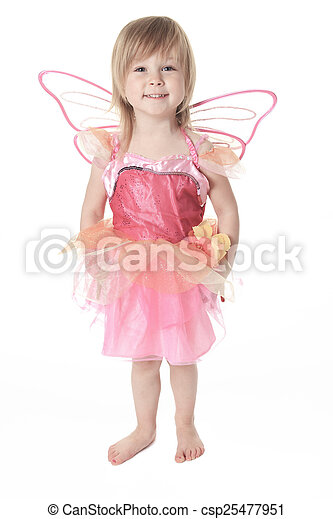 Little girl in butterfly costume on white background - csp25477951