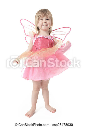 Little girl in butterfly costume on white background - csp25478030