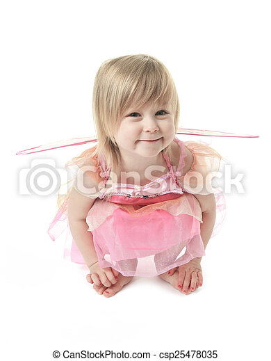 Little girl in butterfly costume on white background - csp25478035