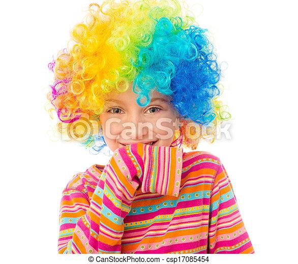 little girl in clown wig - csp17085454