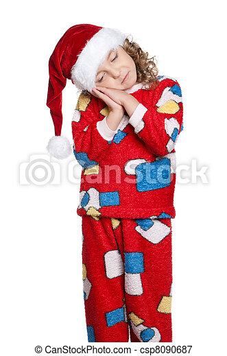 Little girl in pajamas - csp8090687