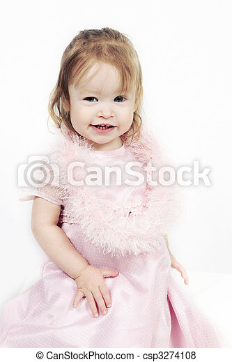 Little Girl in pink dress with white background - csp3274108