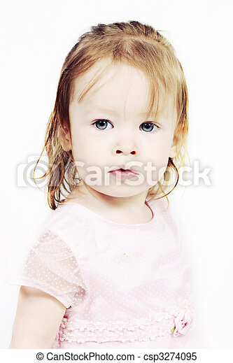 Little Girl in pink dress with white background - csp3274095