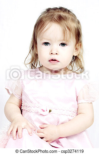 Little Girl in pink dress with white background - csp3274119