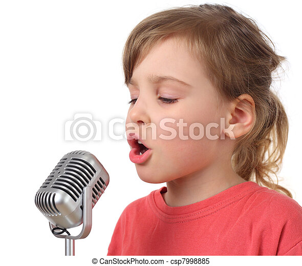little girl in red shirt singing in microphone, half body, isolated - csp7998885
