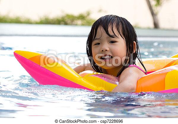 Little girl in swimming pool - csp7228696