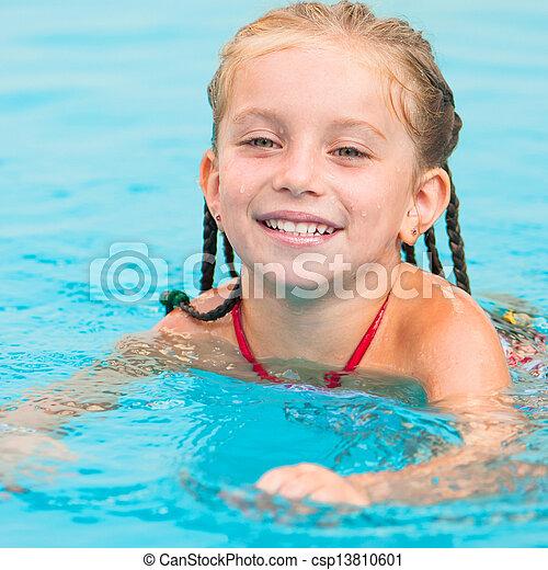 little girl in swimming... - csp13810601