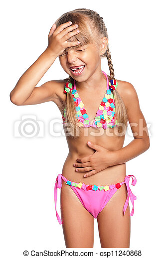 Little Girl In Swimsuit Isolated On White Background