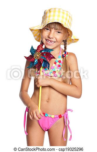 69993b2c6c Little girl in swimsuit. Happy little girl in swimsuit with ...