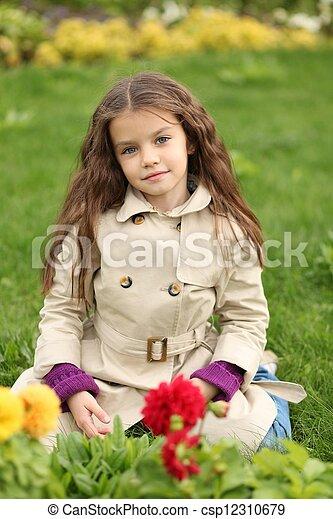 little girl in the autumn park - csp12310679