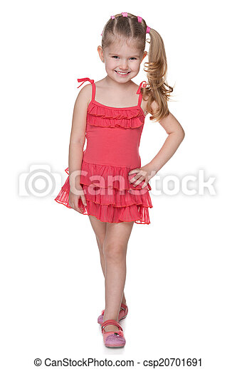 Little girl in the red dress - csp20701691
