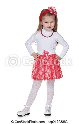 Little girl in the red skirt - csp21728883
