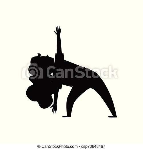 little girl in yoga pose stretching her back  black