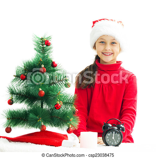 little girl is waiting the new year on a white backgro - csp23038475