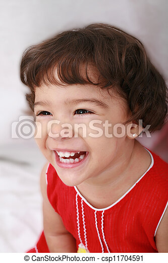 little girl isolated on a white background - csp11704591