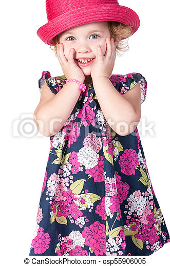 little girl isolated on a white background - csp55906005