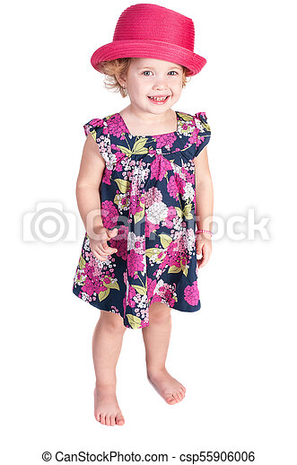 little girl isolated on a white background - csp55906006
