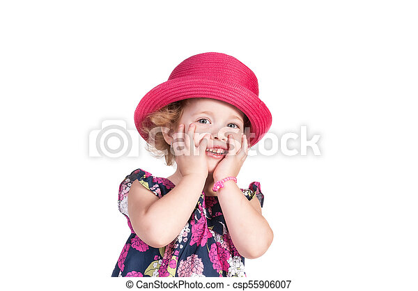 little girl isolated on a white background - csp55906007