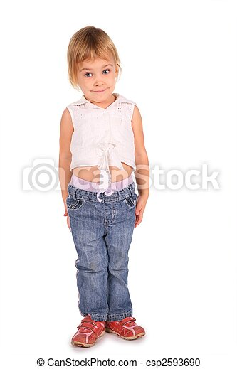little girl isolated on white - csp2593690
