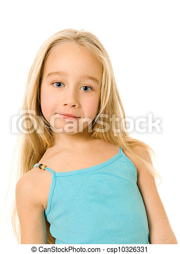 little girl isolated on white background - csp10326331