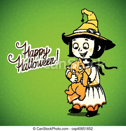 Little Girl Little Witch Detains Disgruntled Cat. Happy Halloween Card    Csp40651652