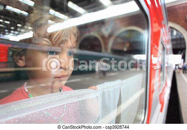 little girl look from train window - csp3928744