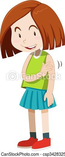 Little girl looking shy illustration.