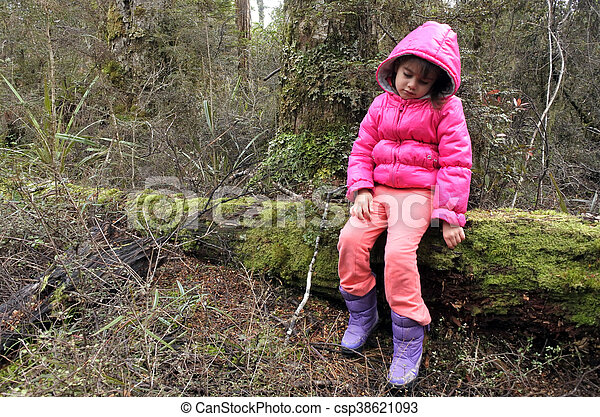 Little girl lost in a rain forest - csp38621093