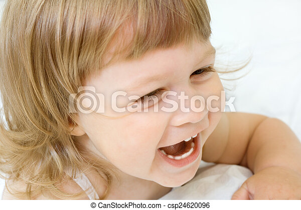 Little girl on a bed - csp24620096