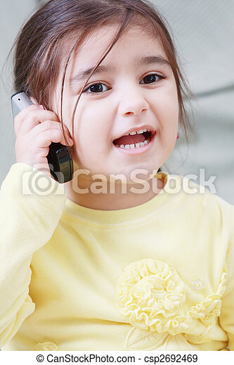 Little girl on phone - csp2692469