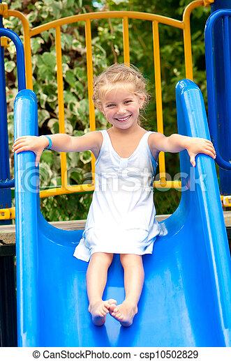 little girl on slide - csp10502829