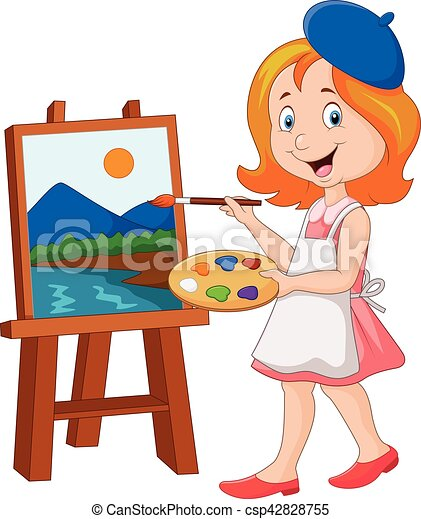 vector illustration of little girl painting on a canvas clipart rh canstockphoto com canvas shoes clipart painting canvas clipart