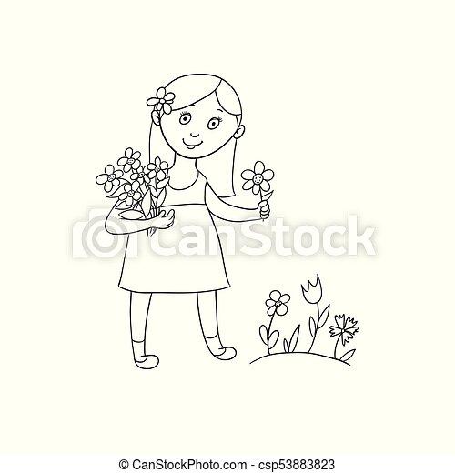 6dfc6db913b85 Little girl picking flowers on summer field. Cute little girl in ...