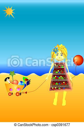 little girl playing at seaside - csp0391677