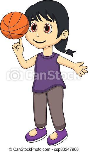 little girl playing basketball cartoon clip art vector search rh canstockphoto com Little Girl Playing Basketball girl basketball player clip art