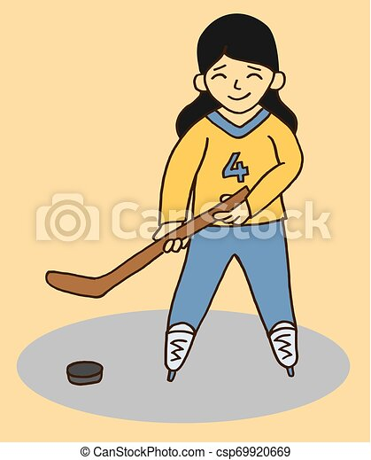 Little Girl Playing Hockey Vector Vector Illustration Of Cartoon Style Smiling Little Girl Playing Hockey
