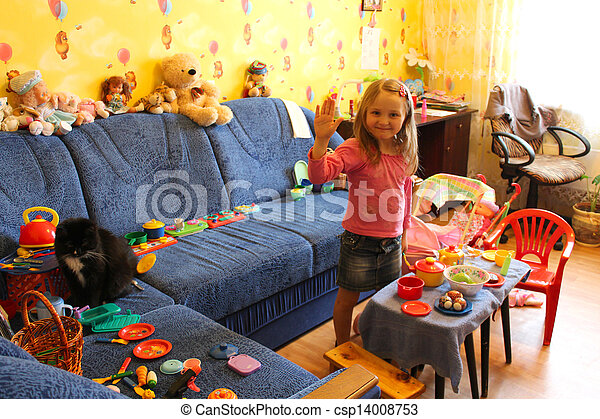 little girl playing with toys in her room - csp14008753