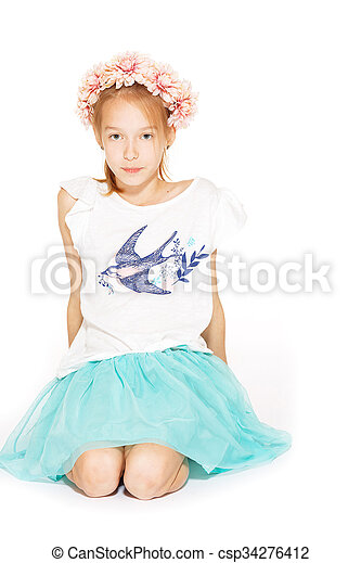 Little girl posing for the camera - csp34276412