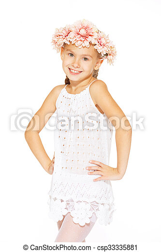 Little girl posing for the camera - csp33335881