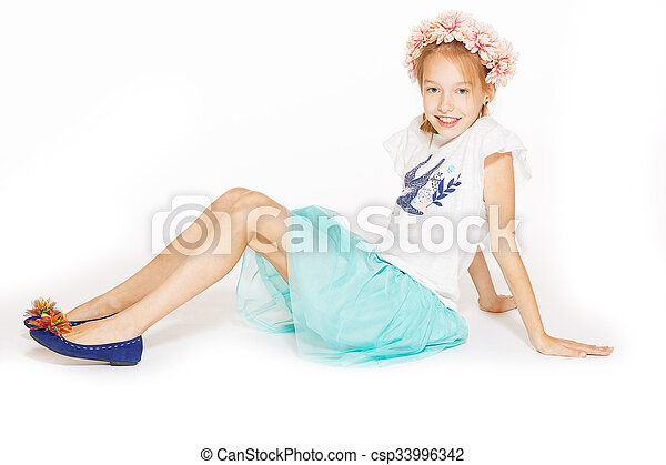 Little girl posing for the camera - csp33996342