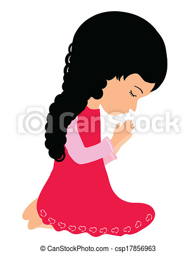 adorable little girl praying peacefully clip art vector search rh canstockphoto com