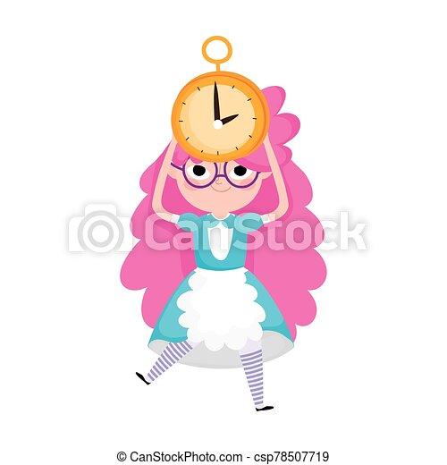 little girl princess with clock cartoon character - csp78507719