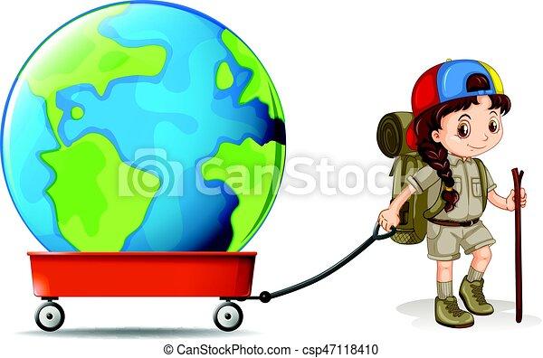 little girl pulling big earth on wagon illustration vector clip art rh canstockphoto com bing clip art free bing clip art borders